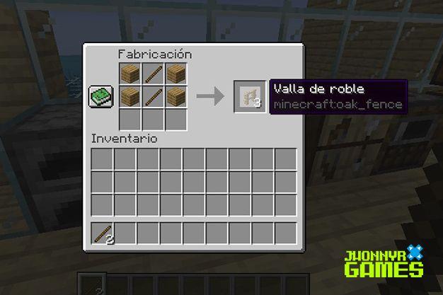 Como crear una valla en Minecraft