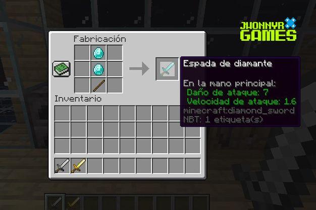 Como hacer una espada de diamante en Minecraft