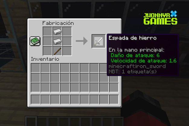 Como hacer una espada de hierro en Minecraft