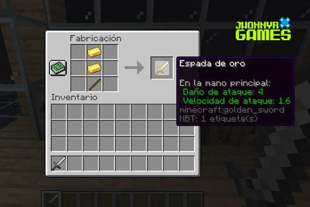 Como hacer una espada de oro en Minecraft