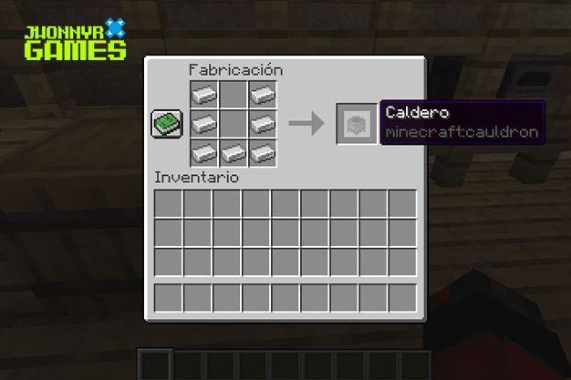 Materiales para hacer un caldero en Minecraft