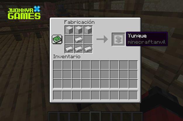Materiales para hacer un yunque en Minecraft
