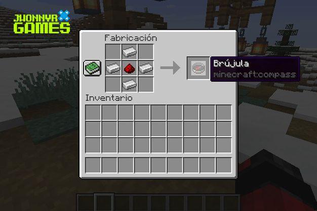 Materiales para hacer una brújula en Minecraft