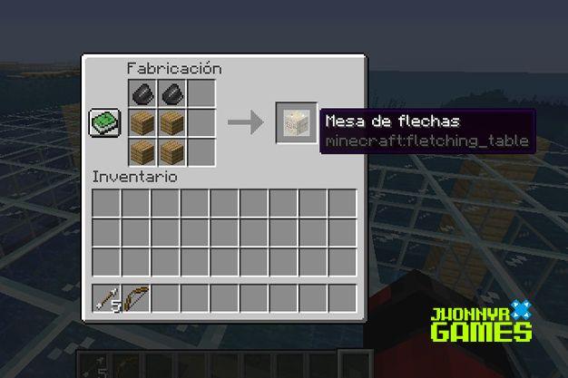 como hacer una mesa de flechas en minecraft